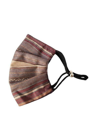 Dark Olive Green Lauren Striped Fancy Pleated  Face Mask with Filters + Carry Pouch