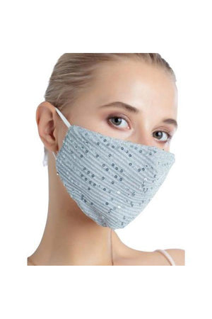 Light Steel Blue Fashion Bling Face Mask + Filters Sky Blue