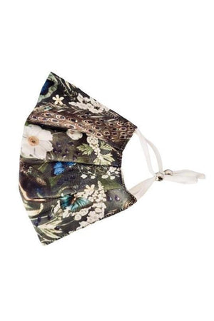 Dark Olive Green Peacock Floral Fancy Pleated  Face Mask with Filters + Carry Pouch
