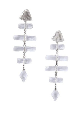 Chan Luu Silver Crystal Fishbone Earrings-Jewelry-Chan Luu-Sheridanboutique