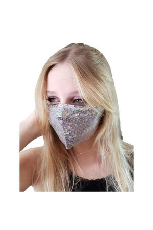 Dim Gray Fashion Bling Face Mask + Filters Taupe