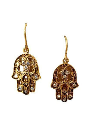 VSA Designs Gold Hamsa Earrings-Jewelry-Virgins Saints & Angels-Sheridanboutique