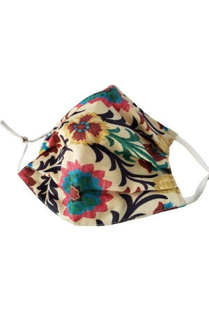 Rosy Brown Spanish Flower Fancy Pleated  Face Mask with Filters + Carry Pouch