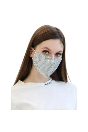 White Smoke Fashion Bling Face Mask + Filters Silver