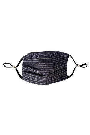 Black to navy stripe Reversible Fancy Pleated Face Mask with Filters + Carry Pouch-Health & Wellness-Three Wild Horses-Sheridanboutique