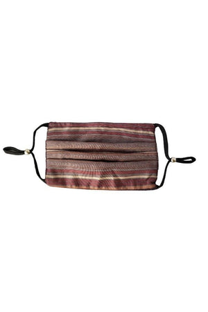 Dim Gray Lauren Striped Fancy Pleated  Face Mask with Filters + Carry Pouch