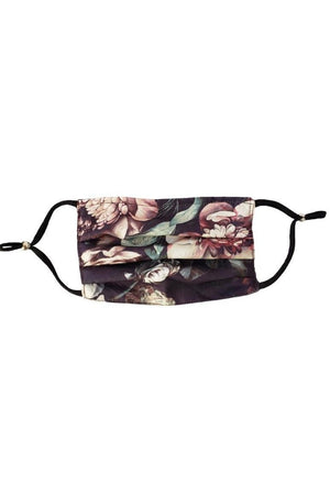 Dark Slate Gray Vintage Floral Black Fancy Pleated  Face Mask with Filters + Carry Pouch