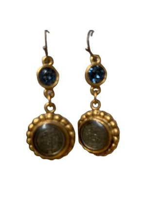 VSA Designs Gold San Benito Magdalena Earrings in Denim Blue-Jewelry-Virgins Saints & Angels-Sheridanboutique