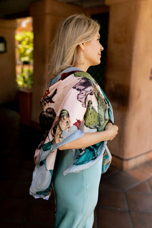 Klements Large Square Silk Scarf in Freaks Print-Accessories-Klements-Sheridanboutique
