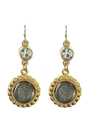 VSA Designs Gold San Benito Magdalena Earrings-Jewelry-Virgins Saints & Angels-Sheridanboutique
