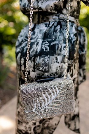 Maliparmi Beaded Leaf Clutch-Handbag-Maliparmi-Sheridanboutique