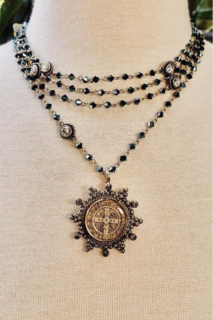 VSA Designs Barbara Starry Night Bicone San Benito Magdalena Necklace in Silver-Jewelry-Virgins Saints & Angels-Sheridanboutique