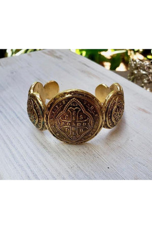 VSA Designs Del Oro Cuff Bracelet Gold-Jewelry-Virgins Saints & Angels-Sheridanboutique