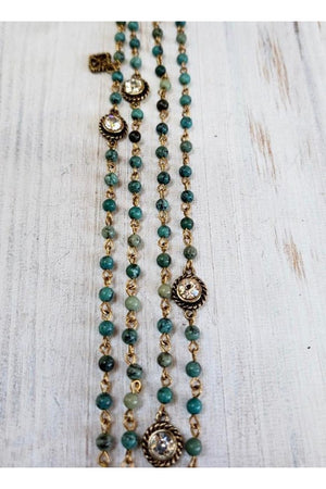 VSA Designs Lux Magdalena 4mm Turquoise Wrap Necklace-Jewelry-Virgins Saints & Angels-Sheridanboutique