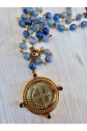 VSA Designs Miraculous Lux 6mm Blue Quartz Rosary Necklace-Jewelry-Virgins Saints & Angels-Sheridanboutique