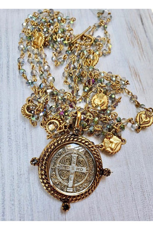 VSA Designs Miraculous Aurora Borealis San Benito Magdalena Necklace-Jewelry-Virgins Saints & Angels-Sheridanboutique