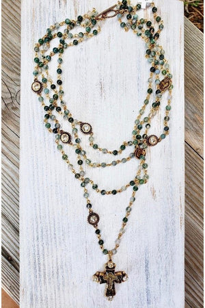 VSA Designs Necklace Lux 4mm Indian Agate Magdalena-Jewelry-Virgins Saints & Angels-Sheridanboutique
