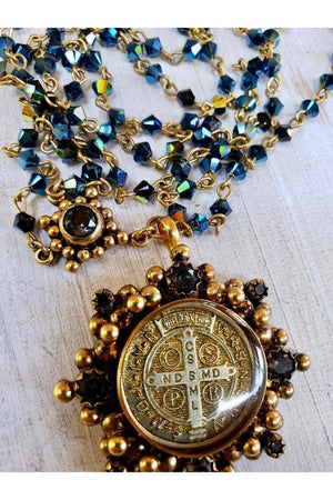 VSA Designs San Benito Cloister Rosary Necklace Starry Night-Jewelry-Virgins Saints & Angels-Sheridanboutique