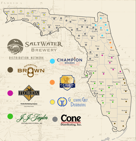Saltwater Brewery Distribution Map