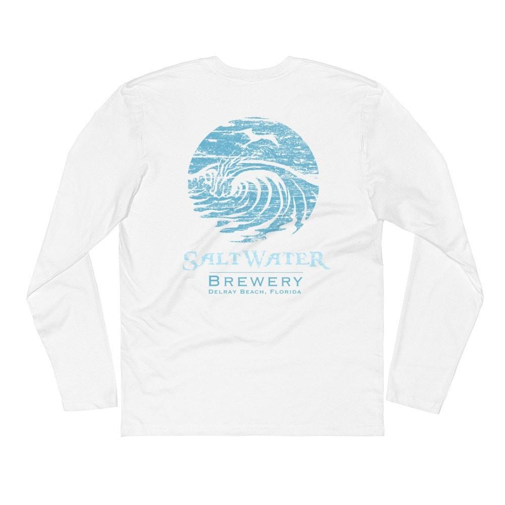 SaltWaterBrewery Ocean Blue Logo - Long Sleeve Fitted Crew