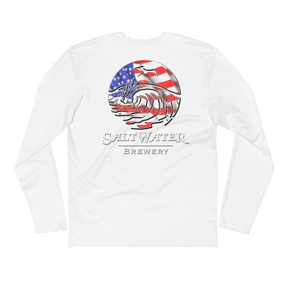 SaltWaterBrewery USA Logo - Long Sleeve Fitted Crew