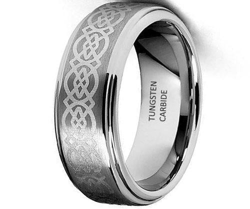 Certified 8mm Celtic Design Laser Engraved Tungsten Wedding Band