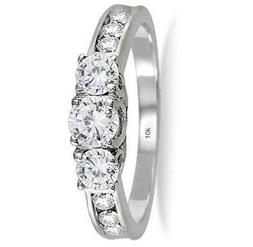 AGS Certified 1 Carat TW Diamond Three Stone Ring in 10K White