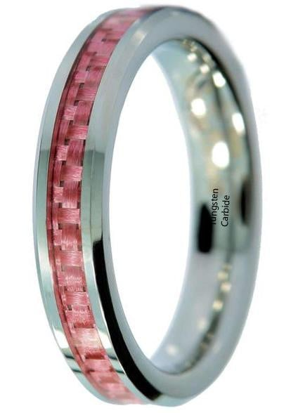 c6be3fc8fd Pink Tungsten Wedding Band | Men Ring | TUNGSTEN CARBIDE | CHESELE ...