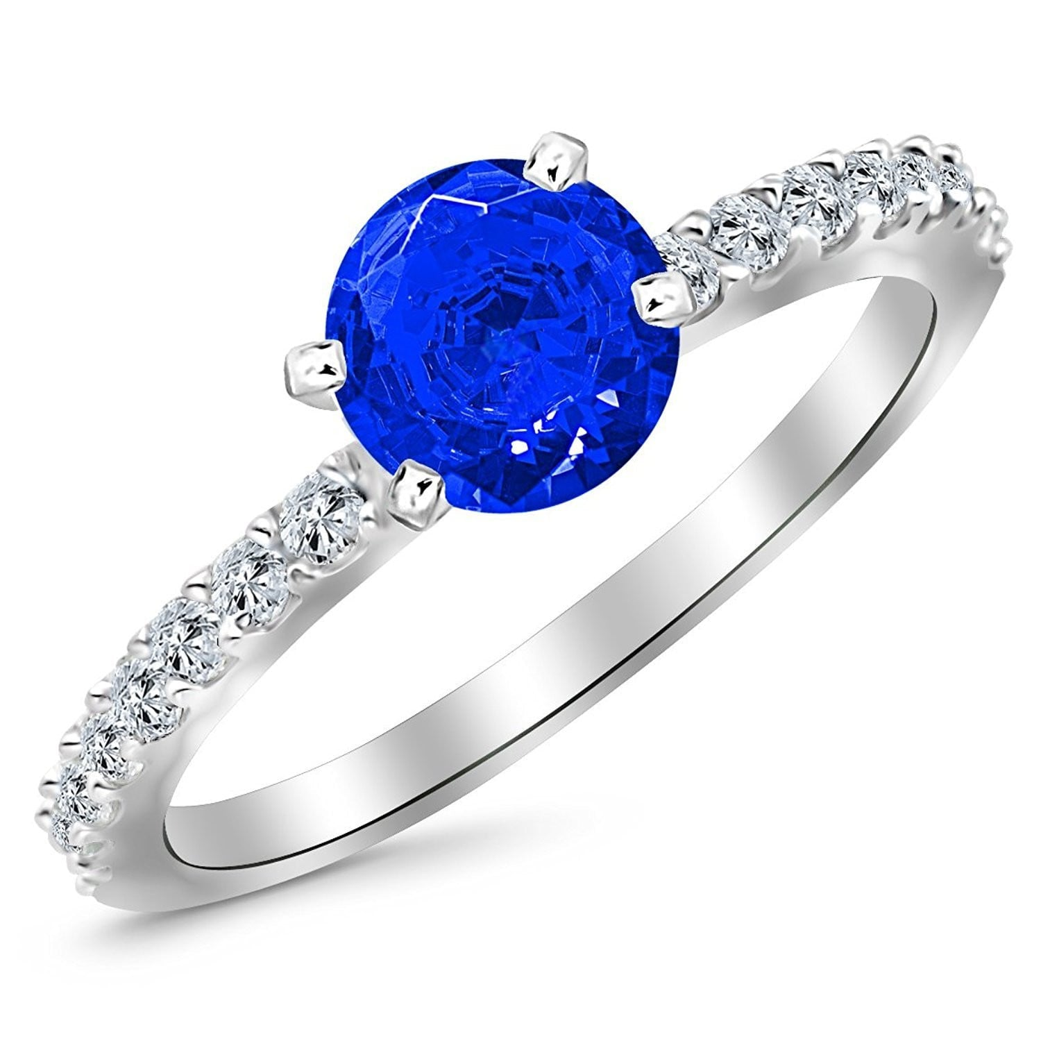 ring engagement blue genuine sapphire attachment carat of modern