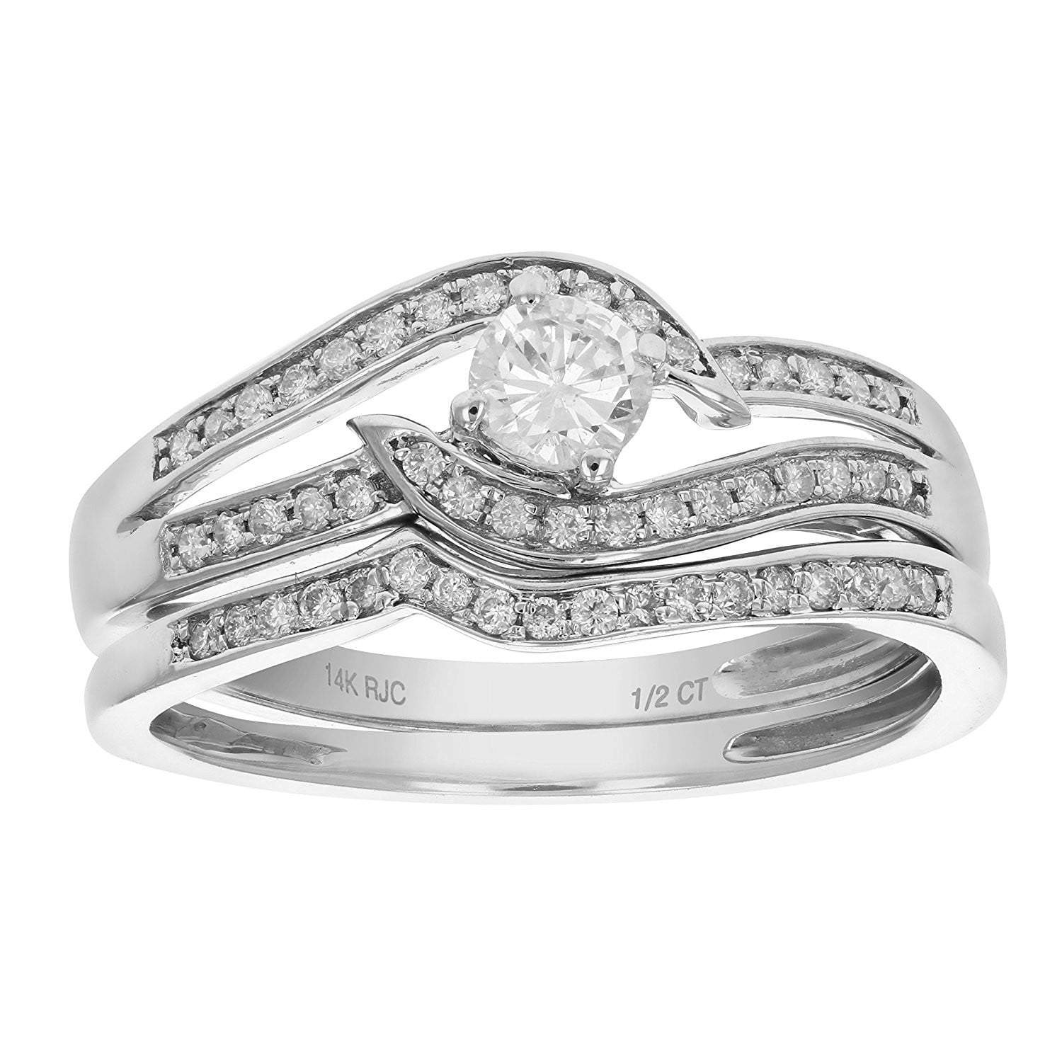 1 00 Carat Seven Stone Diamond Wedding Band in 14K White Gold AGS