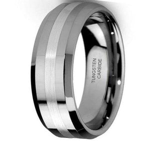 8mm Tungsten Ring One Tone Matte Finish Brushed Center Wedding Band Beveled Edge