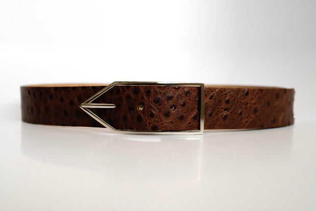 Cocoa Ostrich 'Brook' Waist Belt