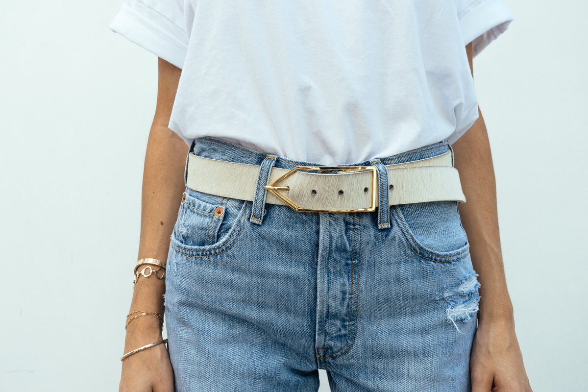 White Hair-On 'Brook' Waist Belt