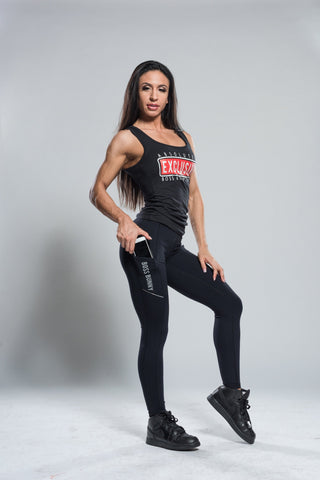 High Waist Black Leggings with Side Pockets - Boss Bunny Sportswear