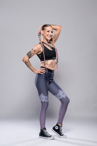 Lace and Camo Reversible Leggings - Boss Bunny Sportswear