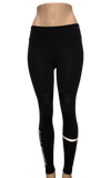Mid Rise Black Leggings with Black/White Stripes - Boss Bunny Sportswear