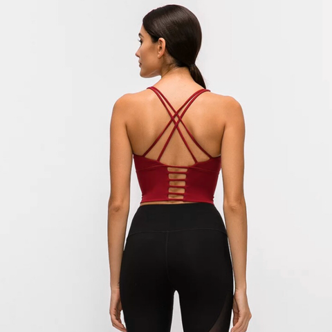 Cross Back Cropped Bra Tank
