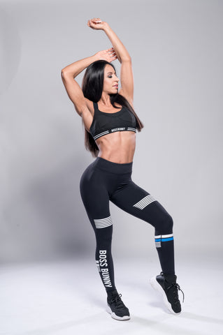 Mid Rise Black Leggings with Stripes - Boss Bunny Sportswear