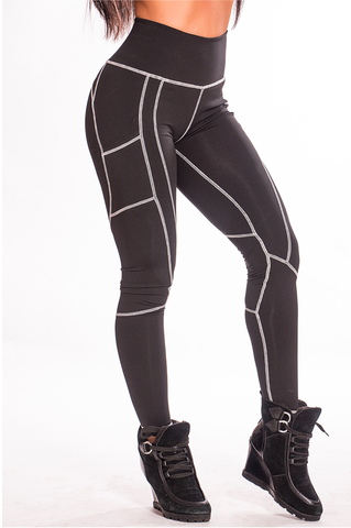 Gray Stitch Black Fitness Leggings - Boss Bunny Sportswear