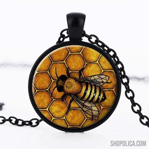 Bee Glass Cabochon Necklace