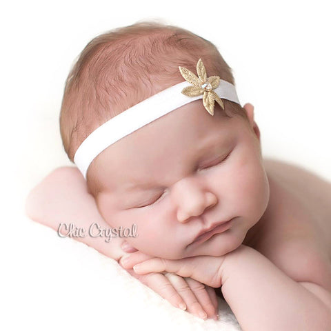 Gold Flower Headband - Chic Crystals