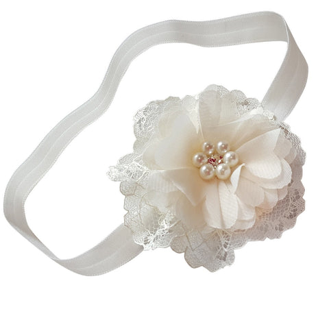 Ivory Lace Headband - Chic Crystals