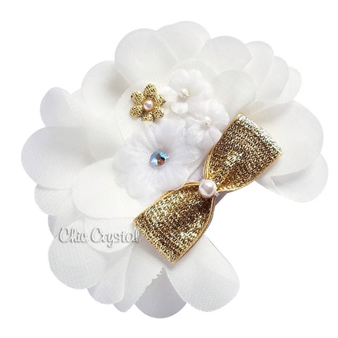 Gold White Chiffon Clip - Chic Crystals