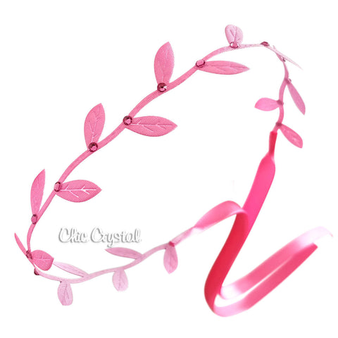 Hot Pink Leaf Wrap Band - Chic Crystals