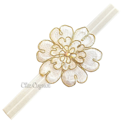 Gold White Flower Band - Chic Crystals