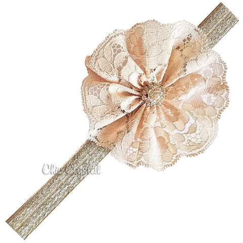 Nude Lace Headband - Chic Crystals