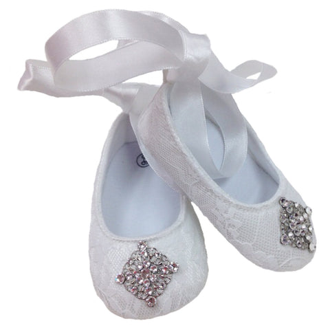 White Lace Baby Shoes - Chic Crystals
