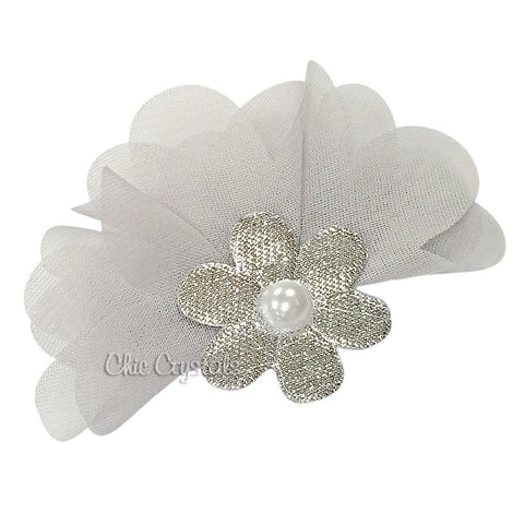 Silver Metallic Flower Clip