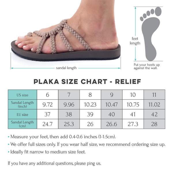 Plaka Relief size chart