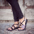 Palm Leaf Flat Women's Sandals | Black-Zebra